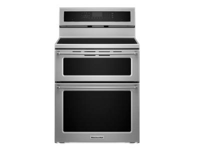 KitchenAid 30 Inch 5 Burner Induction Double Oven Convection Range    YKFID500ESS