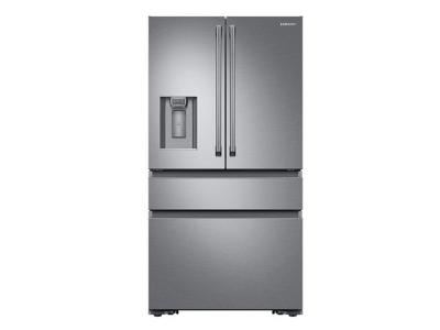 Samsung 23 cu. ft. Capacity Counter Depth 4-Door French Door Refrigerator with Polygon Handles - RF23M8090SR